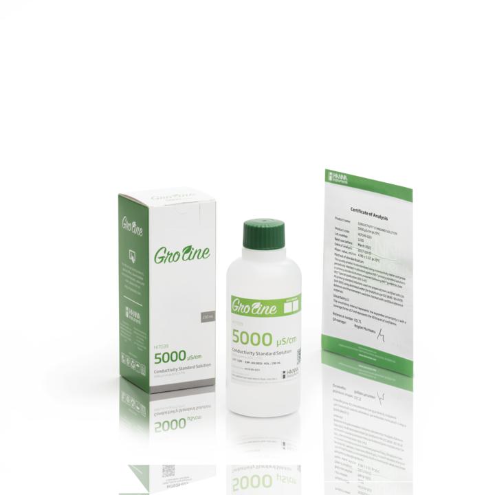 GroLine 5,000 μS/cm Conductivity Standard with Certificate (230 mL bottle) – HI7039-023