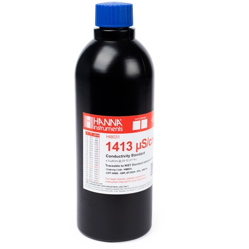HI8031L 1413 µS/cm Conductivity Standard in FDA Bottle (500mL)