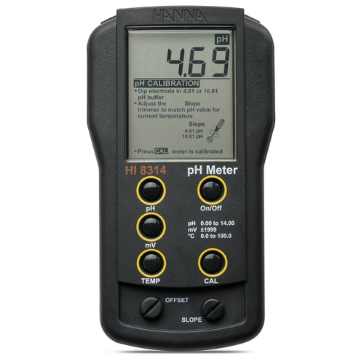 Analog pH/mV/°C meter with HI1217D electrode - HI8314