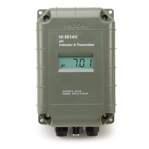 pH Transmitter with 4-20 mA Galvanically Isolated Output - HI8614 with LCD