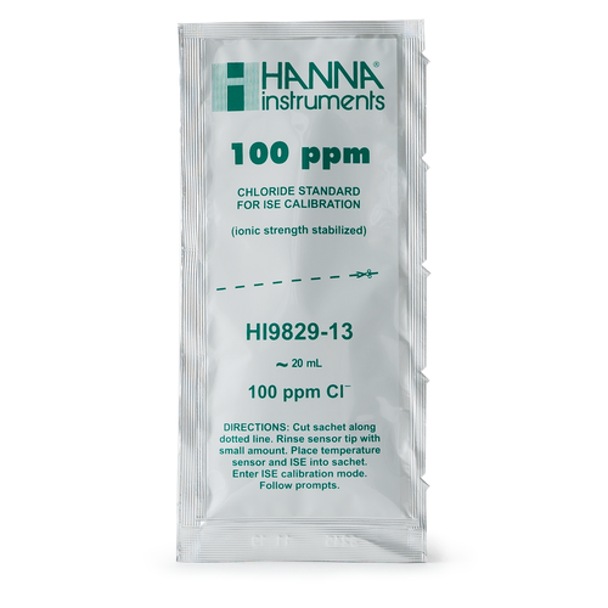 100 ppm Chloride Calibration Standard Sachets for HI9829 (25 x 25 mL) - HI9829-13