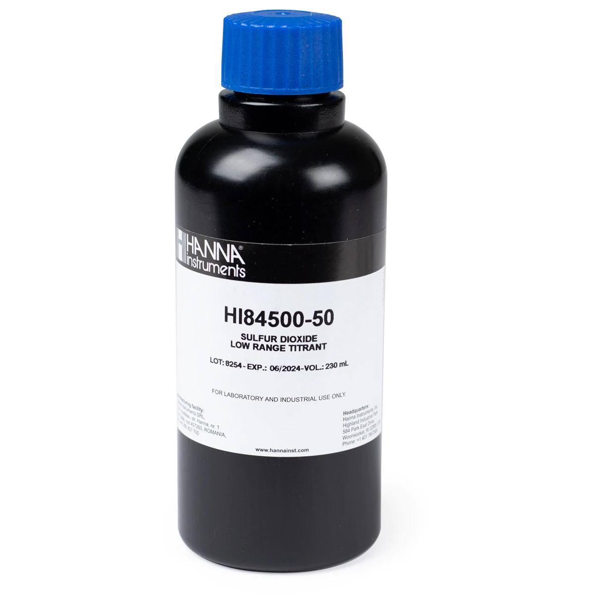 HI84500-50 Sulfur Dioxide in Wine Low Range Titrant (230 mL)