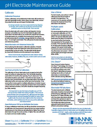 pH electrode maintenance